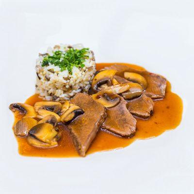 Antricot de vita cu orez salbatic