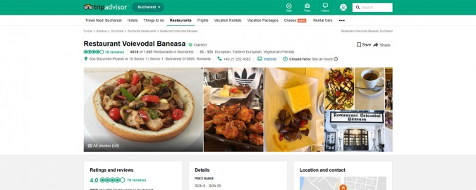 Tripadvisor Bucharest restaurants
